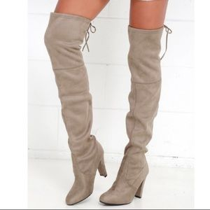 Steve Madden Gorgeous Over The Knee Boots Taupe